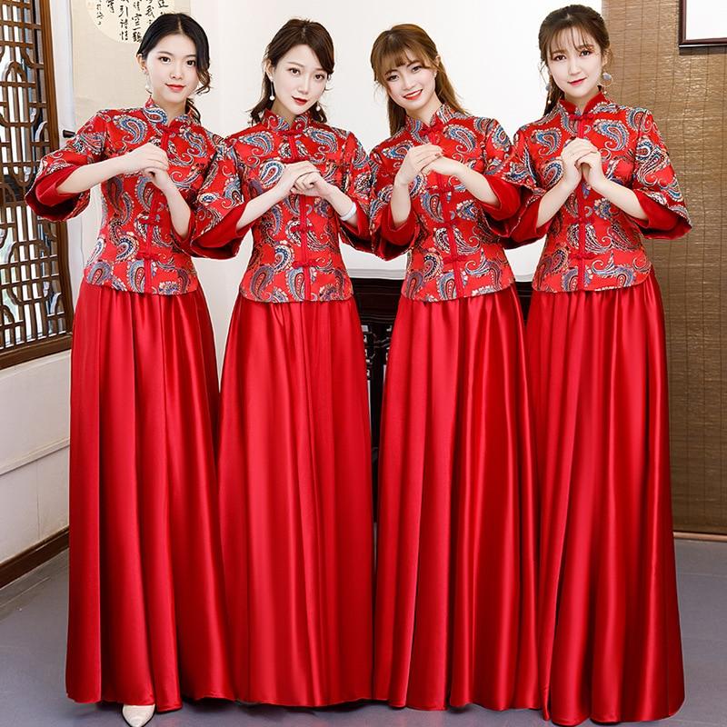 Mariage demoiselle d'honneur Cheongsam rétro mince longue robe de soirée robe de mariage Style chinois soirée Qipao dame vêtements Vestido