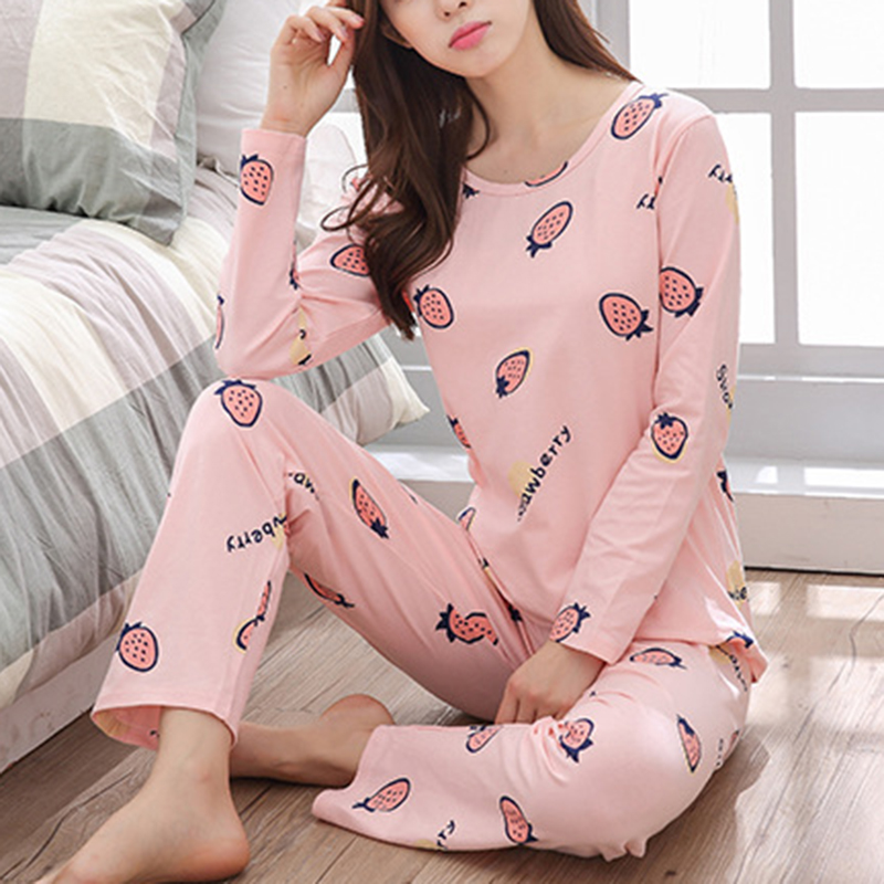 Fashion Autumn Winter Women   Pajamas   Thin Long Sleeve   Pajamas     Set   Student Tracksuit Tops Female   Pajamas     Sets   Night Suit Sleepwear
