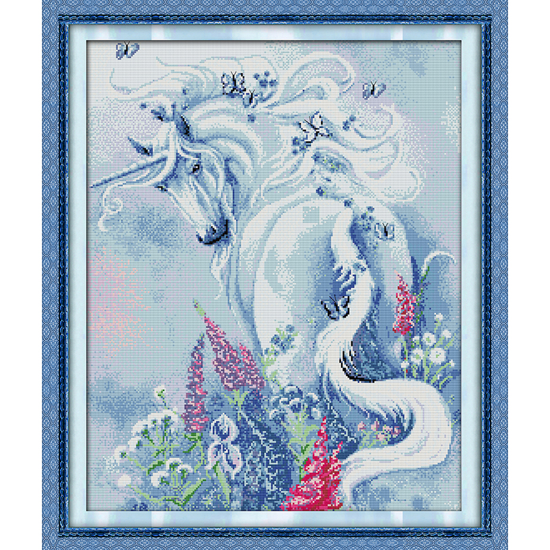 Everlasting love Unicorn Garden (2) Chinese cross stitch kits Ecological cotton stamped 11CT DIY new year decorations for home