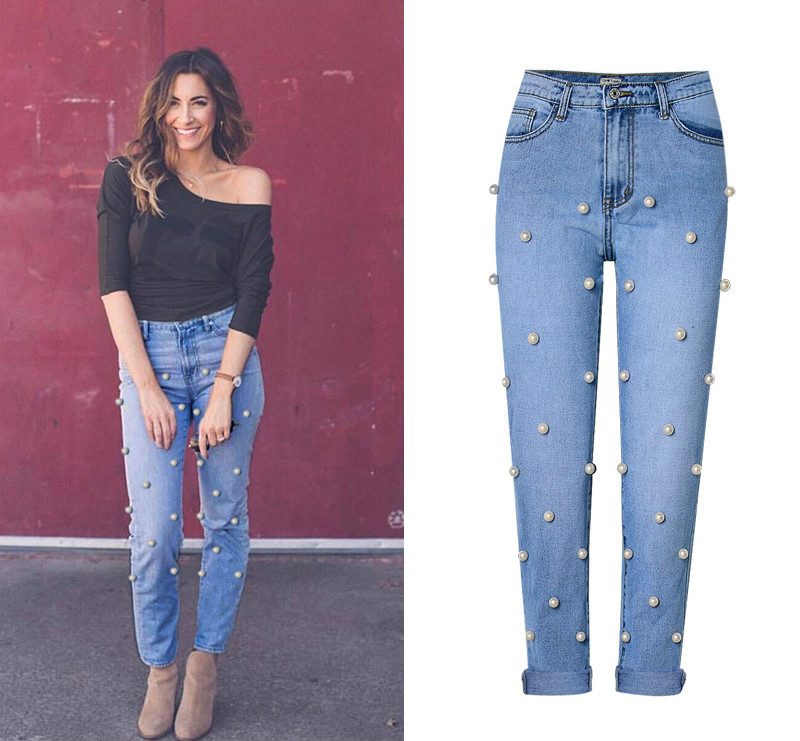 Wash Pants Fake Blue Women's Woman Jeans Straight High Cuffs Loose Waist Bleached New 2018 Trousers Zippers Beading Street Hot qTSXx6UUw