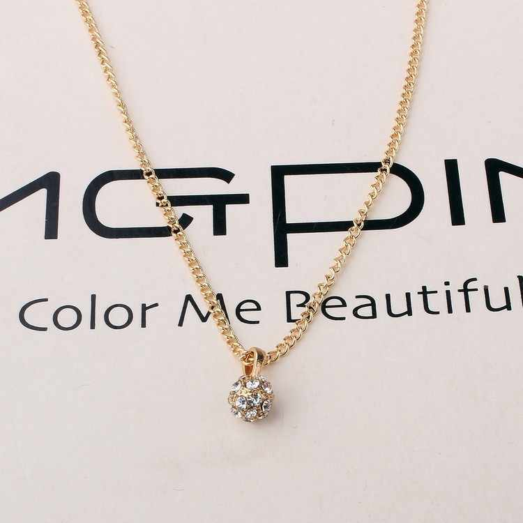 2016 moda simples pingente de cristal bola strass longo colares mujer colares & pendan alta textura colar de ouro