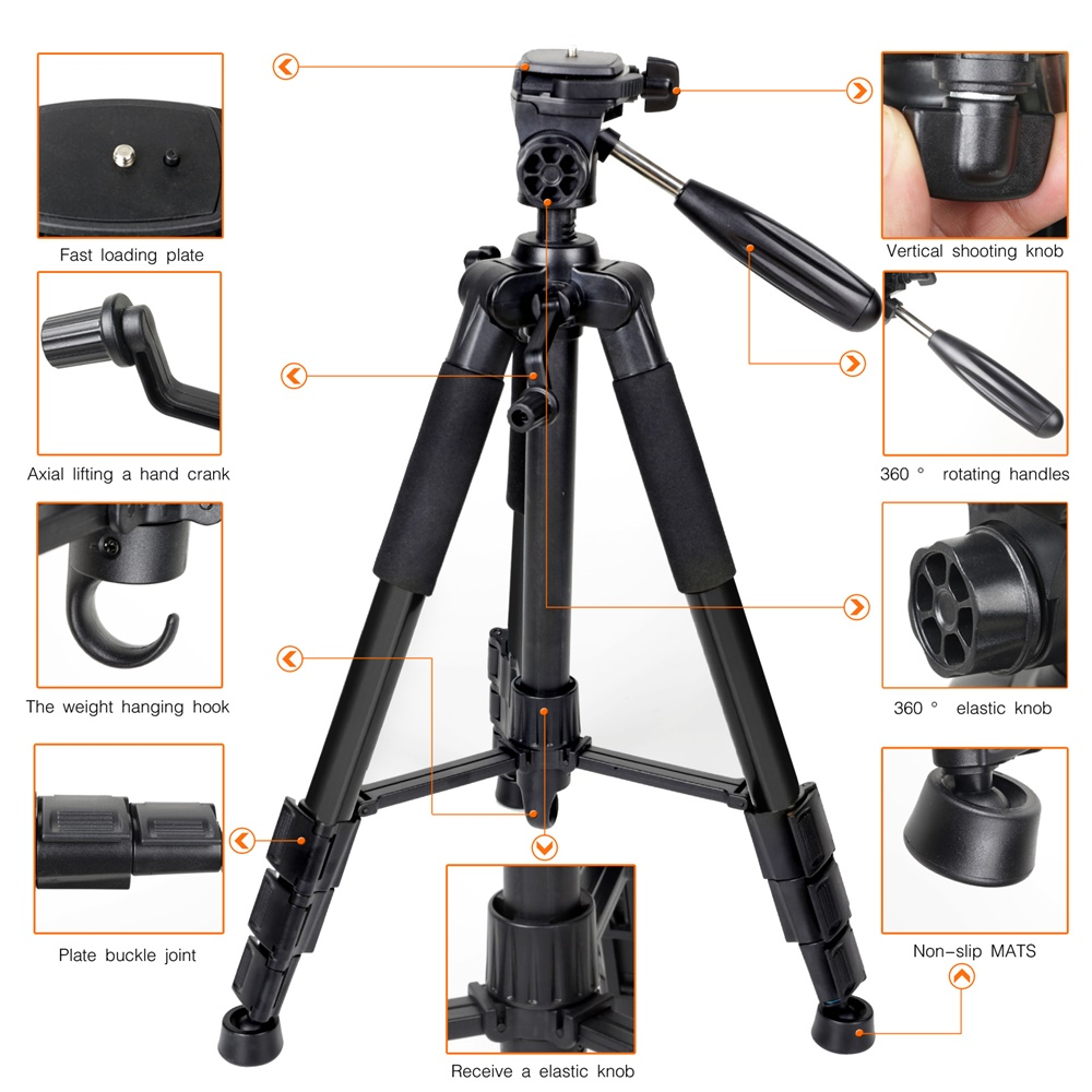 ZOMEI Q111 Camera Tripod Pan Head Professional Portable Travel Aluminum Tripode-3