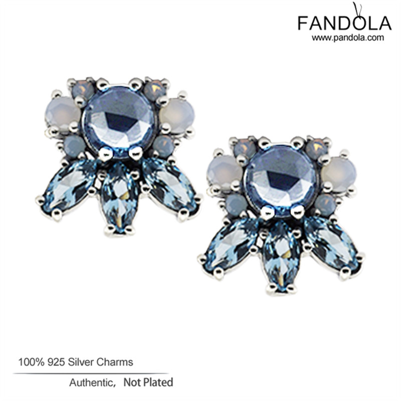 Multi-Colored Crystal Earrings 100% 925 Sterling Silver Patterns of Frost Earrings for Women Wedding Jewelry Pendientes Brincos