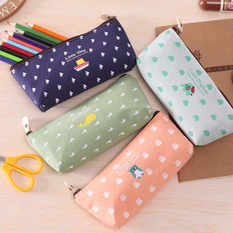 Women Cartoon Cosmetic Bag Canvas Little Ship Owl Dolphin Cute Zipper Pencil Case Stationery Make Up Storage Pouch Pen Bag
