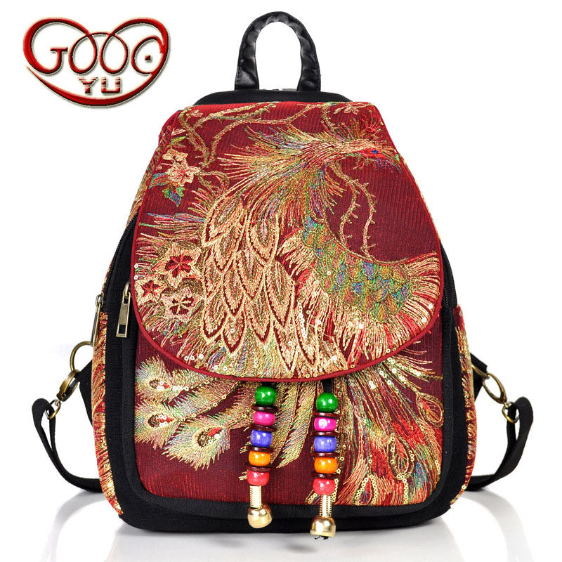 China Yunnan national wind embroidered women bag peacock embroidery package canvas women 's style vertical backpack комбинезон moe комбинезон