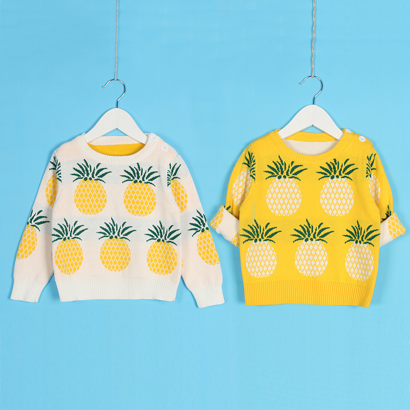 Winter Autumn Baby Boys Girls Sweaters Kids O Neck Pineapple Sweaters Pattern 100 Cotton Toddlers Pullover