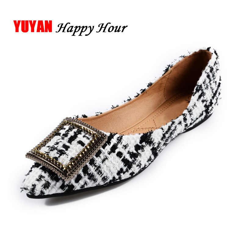 Moda Bot Ayakkabı Kadınlar Sivri Burun Ofis Bayanlar Düz Ayakkabı Zarif kadın Flats Lüks Marka Artı Boyutu 10 A057