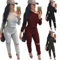 Rompers Women Jumpsuit 2016 New Fashion Solid Color Long sleeve  Sexy Backless Knitted Bodycon Grey Long Pant Jumpsuits