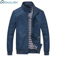 Grandwish Plus Size 6XL Men S Jacket Male Overcoat Casual Solid Jacket Slim Fit Stand Collar