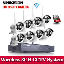 Plug And Play 8CH NVR Wifi CCTV System 1TB HDD 960P HD Vandalproof Fixed Outdoor Video Surveillance Security Camera System