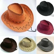 1 шт. Новое поступление женские мужские Ретро ковбойские шляпы Западные Ковбойские повседневные однотонные головные уборы дикие западные шляпы поступление