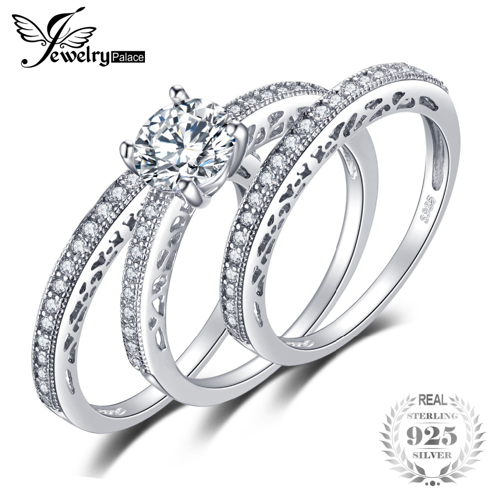 JewelryPalace Vintage 1.5ct Cubic Zirconia 3 Pcs Anniversary Wedding Band Engagement Ring Bridal Sets 925 Sterling Silver Rings