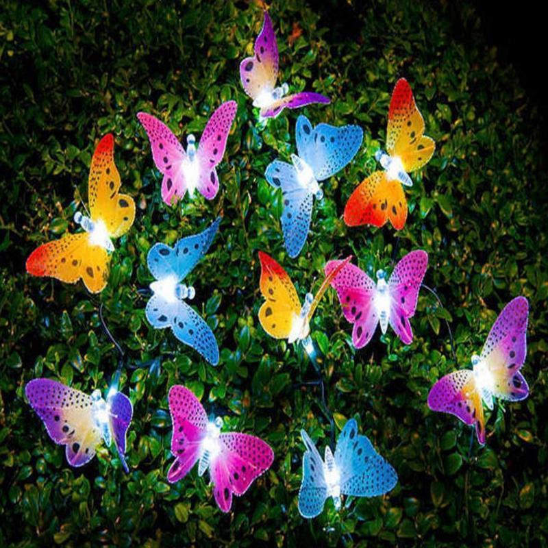12pcs Outdoor LED Butterfly Fiber Optic Fairy Garden Lights Patio Fence Ornament light Garden Decoration in Novelty Lighting from Lights Lighting