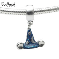 SUAYMAK Cartoon 925 Sterling Silver Blue Enamel Mickey Sorcerer S Hat Charm Beads Fits Pandora Bracelets