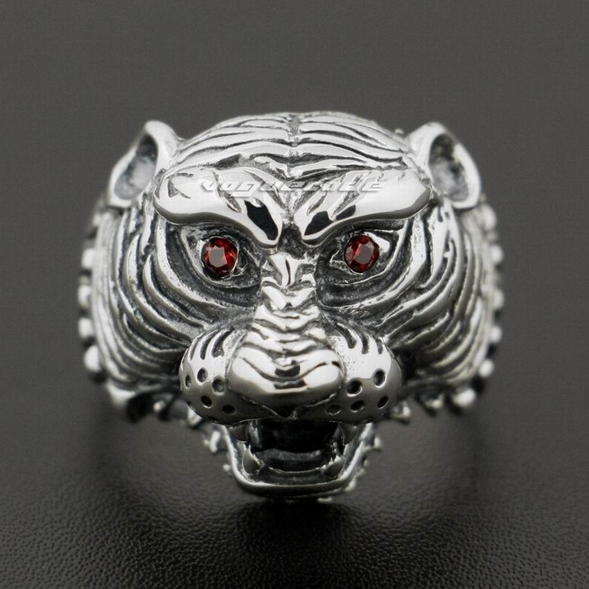 925 Sterling Silver Red CZ Eyes Tiger Mens Biker Rocker Punk Ring 8Y002925 Sterling Silver Red CZ Eyes Tiger Mens Biker Rocker Punk Ring 8Y002