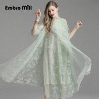 summer folk custom Petal sleeve silk embroidery Floral dress Retro Seven quarter sleeve Commuting women elegant dress M XL