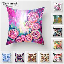 Fuwatacchi Hand Painted Flowers Cushion Covers Pink Rose Lily Pillow Covers for Home Sofa Chair Decorations Plush Pillowcases цены