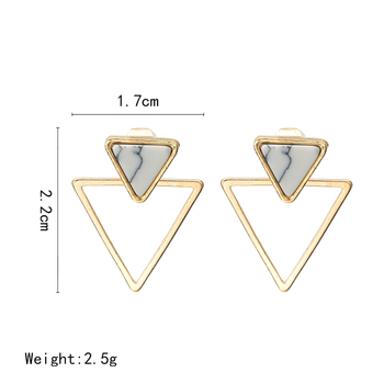 New Earrings Fashion Simple Stud Earrings Personality Trend Push-back Triangle Earrings Wholesale Jewelry Women's Earrings 5