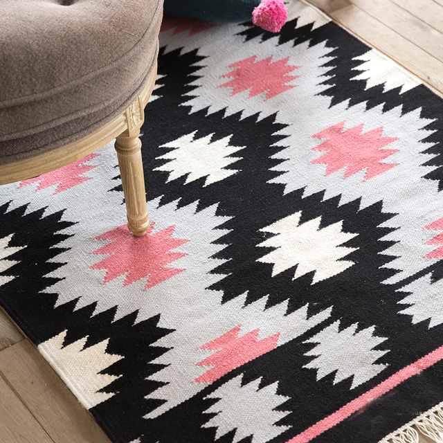 100 Wool Kilim Carpet Geometric Bohemia Indian Black White Pink Rug Plaid Striped Modern Contemporary