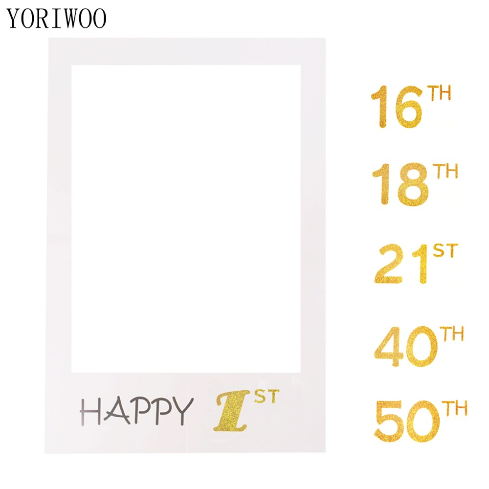 YORIWOO 1st 18th 21st 30th <font><b>50th</b></font> Photo Booth Frame Happy <font><b>Birthday</b></font> Party <font><b>Decorations</b></font> Adult Photobooth Props Backdrop Baby <font><b>Birthday</b></font> image