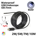 7mm Lens USB Snake Endoscop Camera 2M 5M 7M 10M 6LED IP67 Waterproof Snake 10M USB Inspection Portable Endoscope Camera