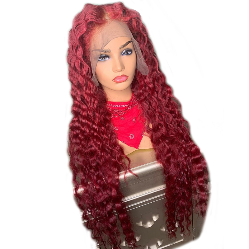 Lace Wigs Preplucked 99j Red Lace Front Human Hair Wigs 150 Density 13*6 Deep Part Burgundy Water Wave Wig With Baby Hair For Black Women Human Hair Lace Wigs