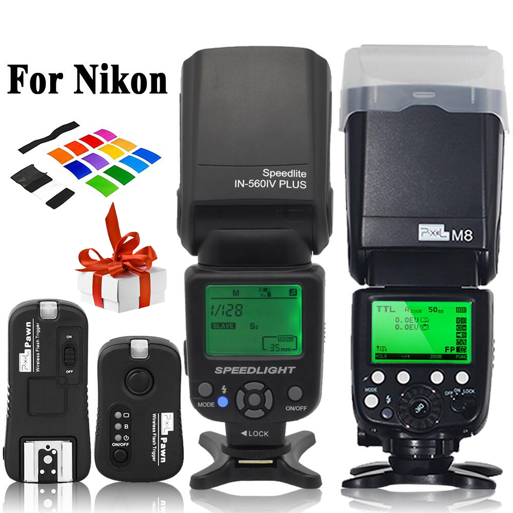 INSEESI IN-560IV IN560IV PLUS & PIXEL M8 LCD FlashLight Wireless Flash Speedlite &TF-362 Trigger for Nikon Camera