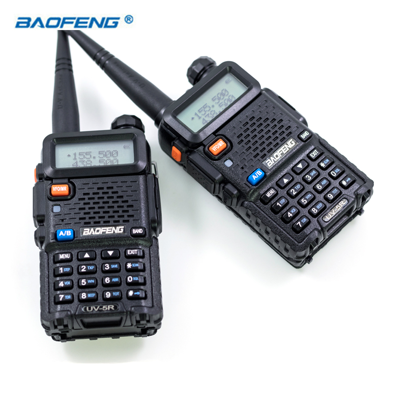 2 pcs Baofeng UV5R Talkie Walkie Double Bande JAMBON CB Radio 2 Façon Portable Émetteur-Récepteur VHF UHF UV 5R Radios chasse Station Stéréo