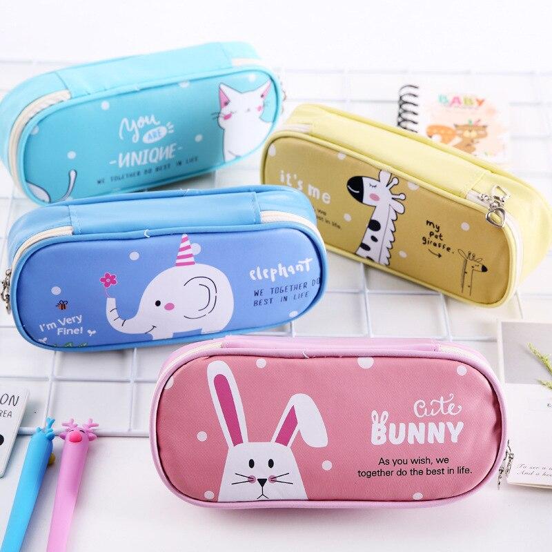 Kawaii School Pencil Case For Girls Boy Korean PU Small Penal Cartoon Big Pencilcase Cat Color Pencil Box Clear Pouch Stationary
