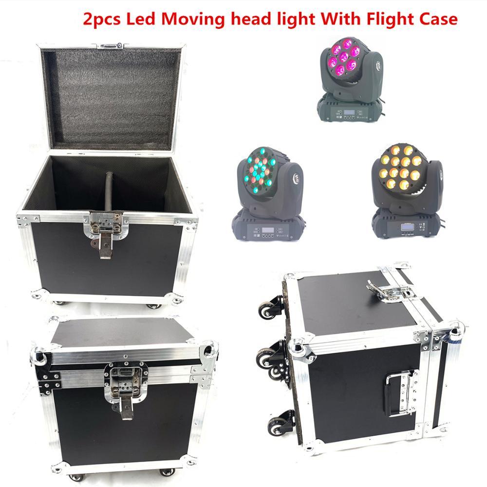 2pcs/Lot LED Beam  Moving Head Light With Flight Case 150W Dj Equipment RGBW(CMY) Quad Led Wash 12x12w 7x20W