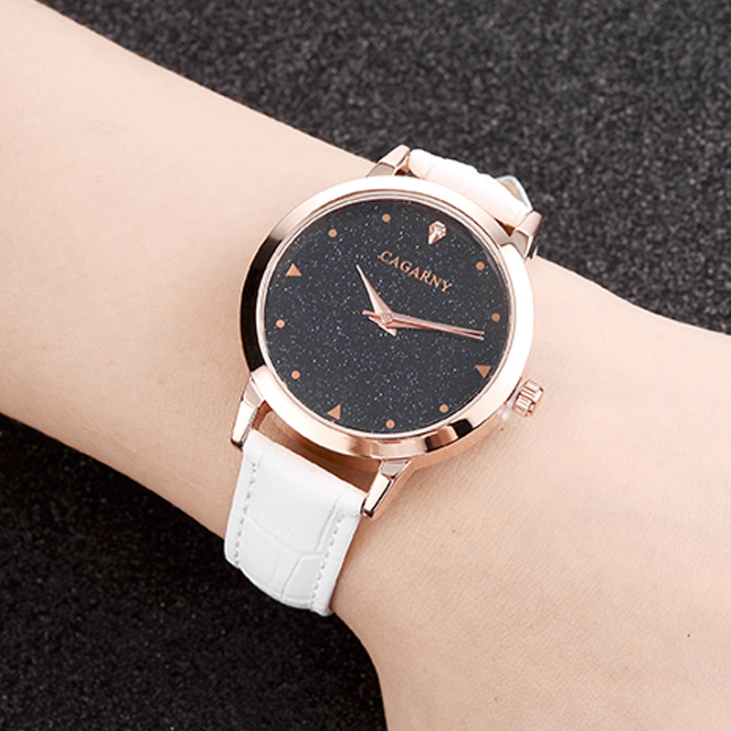 luxury brand cagarny quartz watch for women blue sky dials creative casual ladies watches rose gold case drop shipping (29)