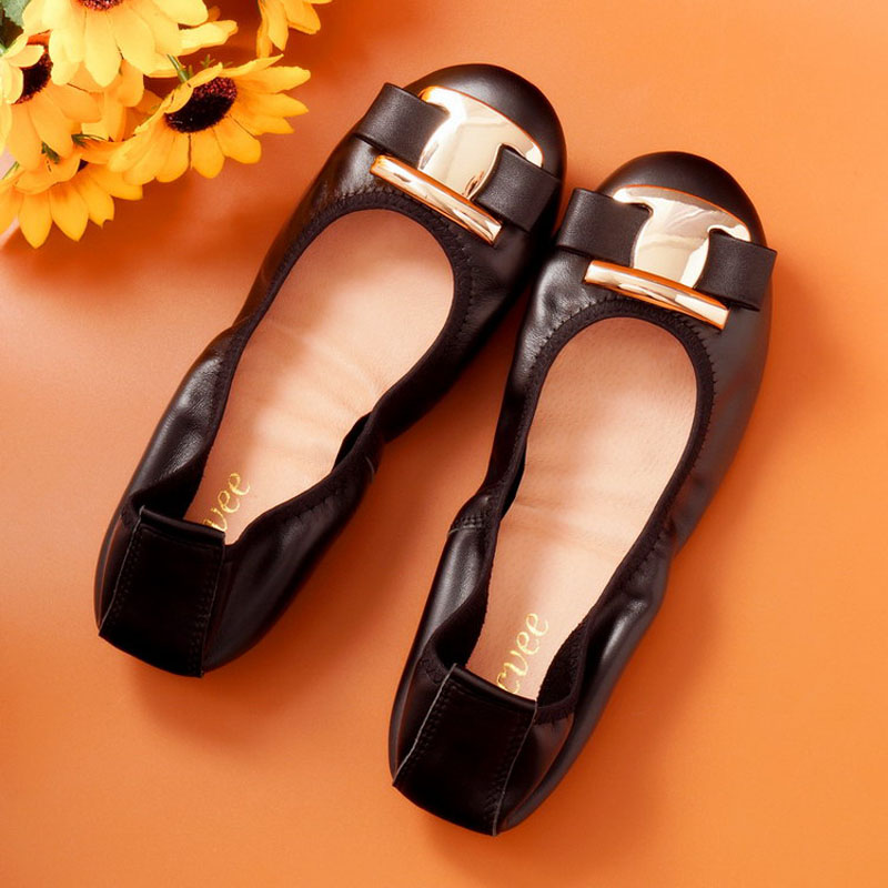 New Genuine Leather Flat Shoes Woman Handmade Comfortable Loafer Cowhide Spring Casual Women Ballet Flats Shoes Big US Size 4-12 aiyuqi big size 41 42 43 women s comfortable shoes 2018 new spring leather shoes dress professional work mother shoes women page 4