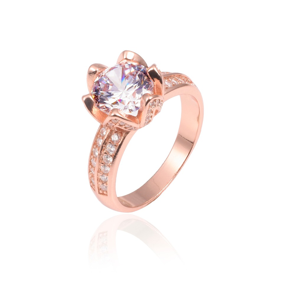 Promotion 8 real solid 100 925 silver rose gold lotus flower 8 real solid 100 925 silver rose gold lotus flower rings wedding jewelry for women 2ct simulated diamond ring in rings from jewelry accessories on izmirmasajfo