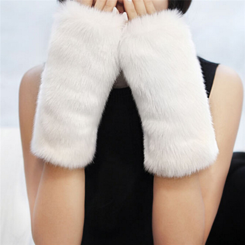 Elastic Winter Furry Arm Muff Gloves