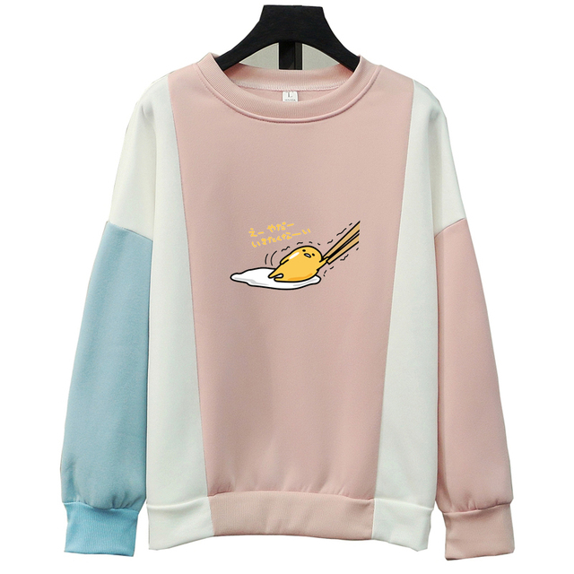 Women Sweatshirts Autumn Winter Kawaii Gudetama Printing Anime Cartoon Fleece Loose Harajuku Contrast Colors Hoodies Clothings