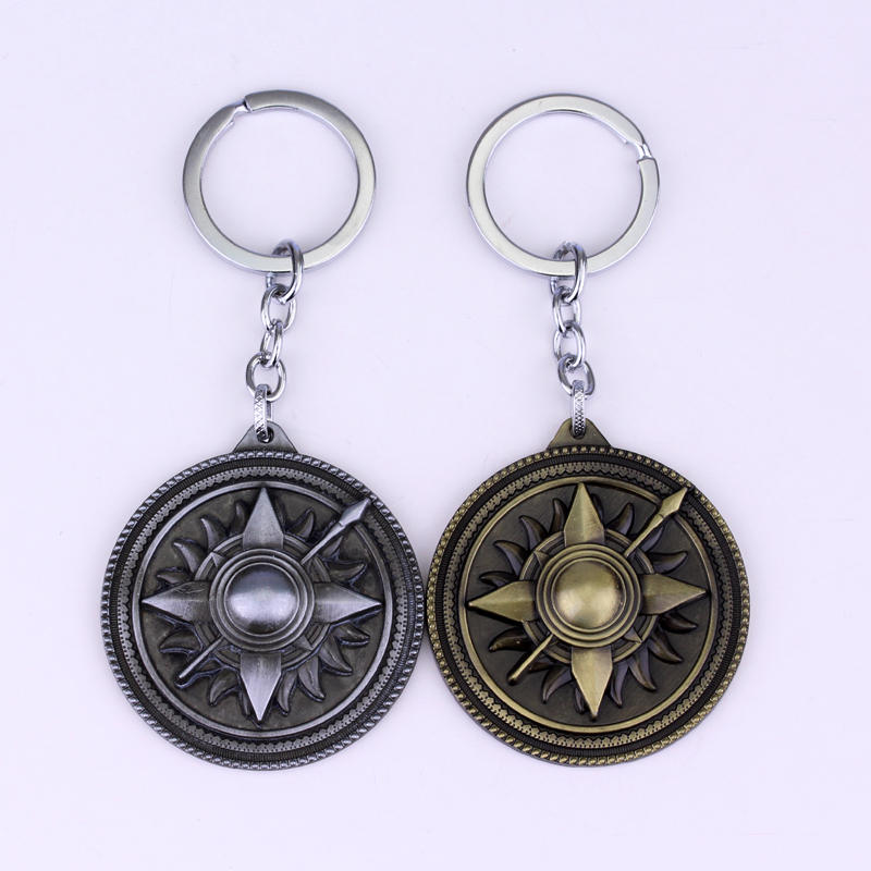 MQCHUN Hot Game of Thrones Shield Round Alloy Martell Keychain Pendant Keychain Chaveiro Keyring Car Pendant Jewelry Accessories