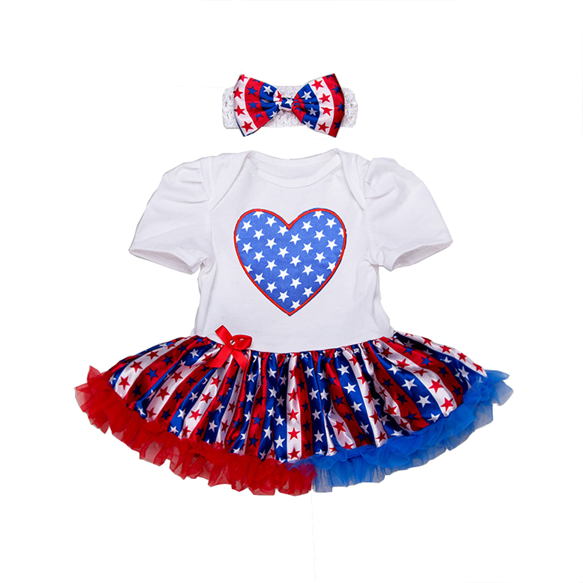 Baby Girls 4th of July Patriotic Onesies Baby Tutu Dresses with Headband