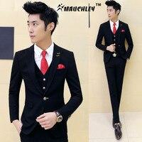 3 stuks (jas + Vest + Broek) jongens Terno Prom Suits Met Broek Mens Geel Trouwpak voor Mannen Korea Slim Fit Feestjurk Kostuum