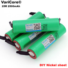 VariCore 100% New Brand 18650 2500mAh Rechargeable battery 3.6V INR18650 25R M 20A discharge + DIY Nickel liitokala new 18650 2500mah rechargeable battery 3 6v inr18650 25r 20a discharge diy silica gel cable