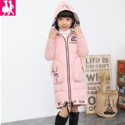 Jaqueta menina crianças casuais parka casaco de inverno pato seção longa para baixo grosso de peles com capuz jaqueta de inverno para meninas outerwear