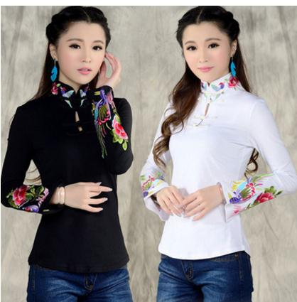 2019 Print Clothes Chinese Style T-Shirt Female Spring And Autumn Ethnic Stand Collar Embroidered Women Shirts Tops K538