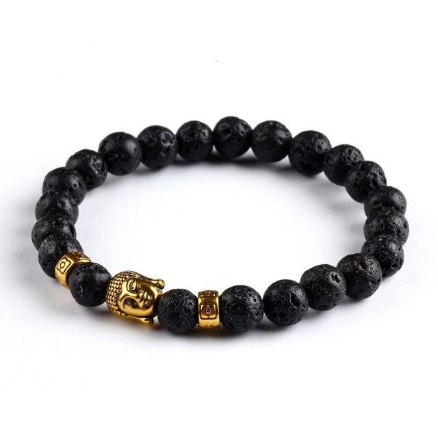 Tiger Eye Bracelet Gold Buddha Natural Stone Beads Elastic Rope Chain Men Charm Bracelets Bangles For Women Male jewellery gift 1
