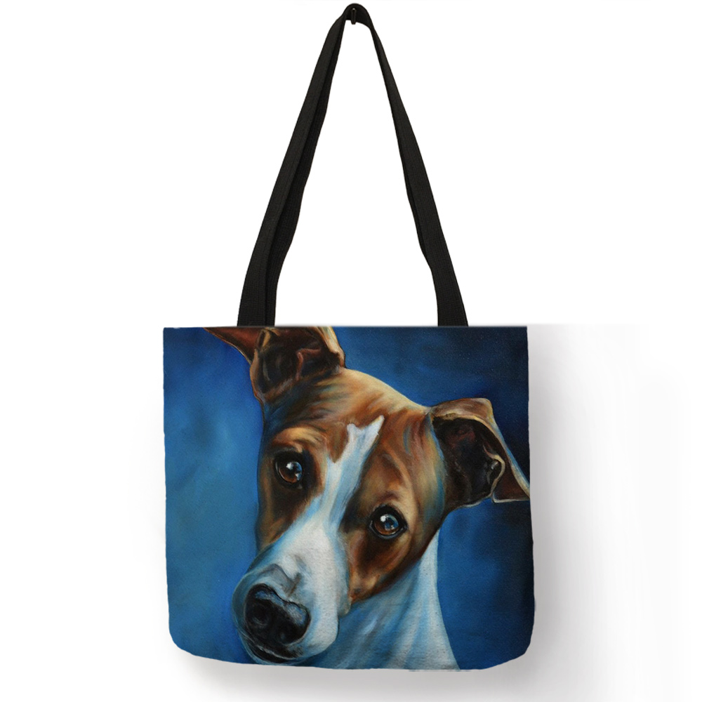 Personalized Oil Painting Greyhound Dog Prints Tote Bag Durable Shopping Travel Sport Bags Women Men Casual Handbag tote bag
