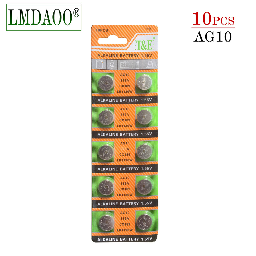 YCDC 10 Pcs AG10 G10A SR1130 LR1130 390A D189 LR54 Alkaline Battery Button Cell Coin