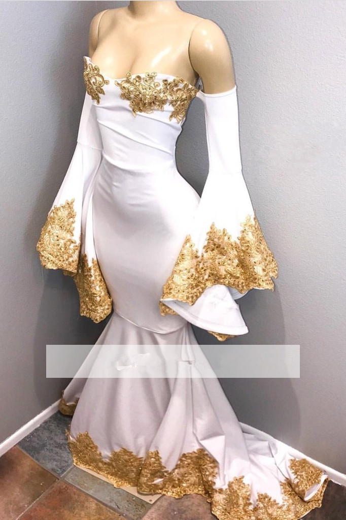White 2019 Prom Dresses Mermaid Long Sleeves Appliques Lace Beaded Party Maxys Long Prom Gown Evening Dresses Robe De Soiree