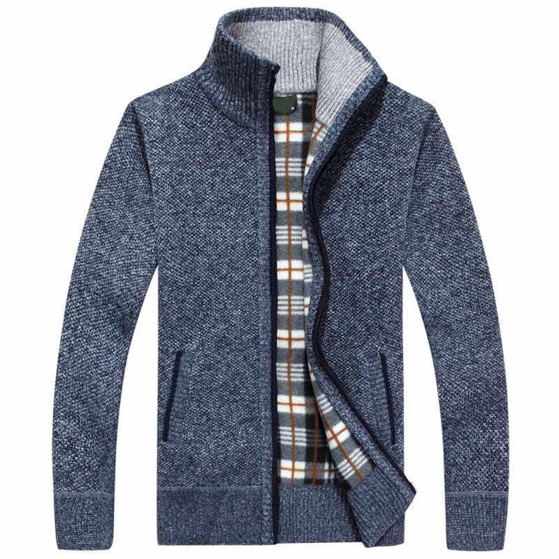 2019 новые мужские свитера Осень Зима теплые кашемировые шерстяные свитера на молнии мужские повседневные трикотажные свитера
