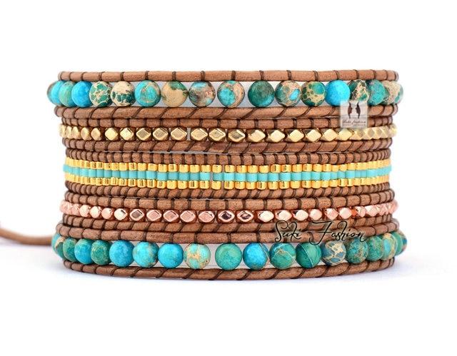 Jasper et Sélectionnée Verre Perles Vintage Wrap Bracelets