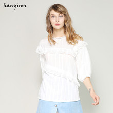 33218b21c51 Hanyiren New 2018 Summer Women Ruffles Layer Blouse And Top White Solid  Hollow Out Lace Short