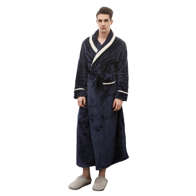 Autumn Winter Men Robe Kimono Bathrobe Warm Nightgown Casual Sleepwear Long Sleeve Home Dressing Gown Nightwear M XL XXXL