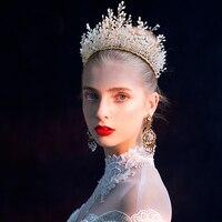 Diamante de imitacion plata hecho a medida Tiara grande Handmad moda Hairband Royal Bridal Wedding Dressing Crown accesorio muje